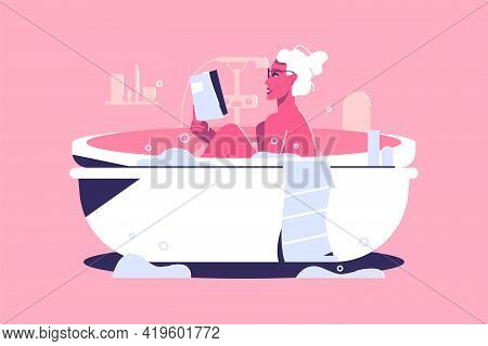 Relaxed Woman Taking Bath With Bubbles Vector Illustration. Girl Reading Book, Rest After Long Work