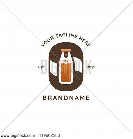Cold Brew Pressed Bottle Coffee Logo Badge Icon Template