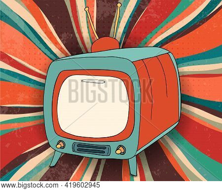 Concept Broadcast Motion Picture - News - Advertising - Show - Video.hand Draw Comic Old Retro Tv Co