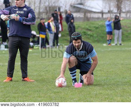 Odessa, Ukraine - April 17, 2021: Rugby Cup 7. Odessa Polytechnic Derby - Blue, Credo - Red. Tense M