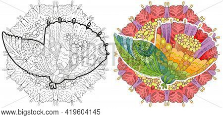 Flower Zentangle Styled With Clean Lines With Mandala For Coloring Book For Anti Stress, T-shirt Des