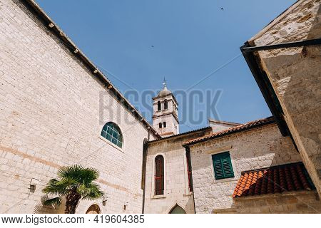 Dome Of The Church Of St. Francis In Sibenik Against The Backdrop Of A Beautiful Blue Sky.