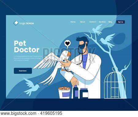 Parrot Doctor Vector Illustration Concept, Parrot Doctor Landing Page Design