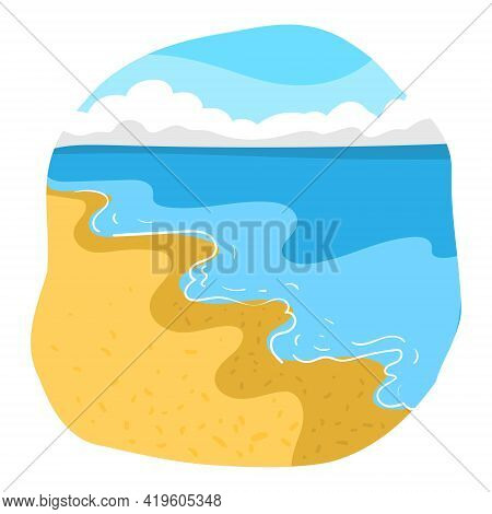 Minimalistic Sunny Bright Beach With Blue Waves Surging On Yellow Sand And Clouds On The Horizon. Ve
