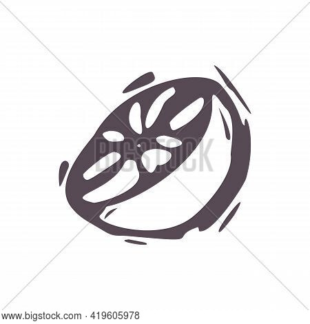 Hand Carved Bold Block Print Squirrel Orange Fruit Icon Clip Art. Folk Illustration Design Element.