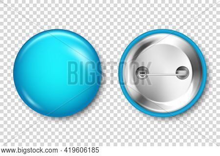 Realistic Blue Blank Badge Isolated On Transparent Background. Glossy 3d Round Button. Pin Badge, Br