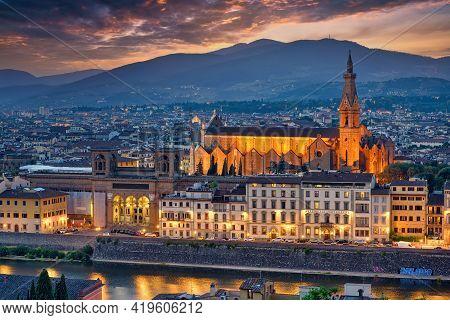 Florence, Italy - July 19, 2017: Basilica Di Santa Croce Holy Cross Is The Principal Franciscan Chur