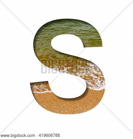 Sea Shore Font. The Letter S Cut Out Of Paper On A Background Of The Beach Of Seashore With Coarse S