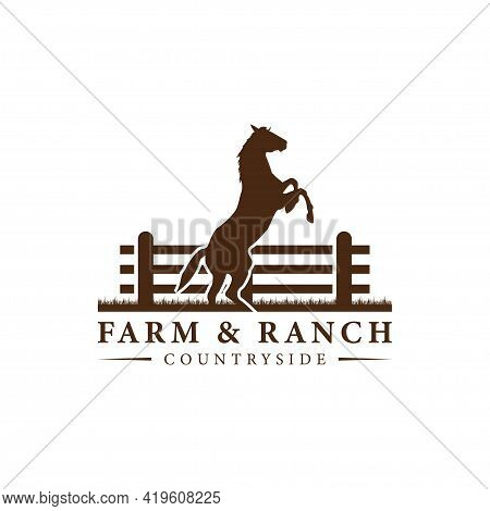 Horse Silhouette Behind Wooden Fence Paddock For Vintage Retro Rustic Countryside Western Country Fa