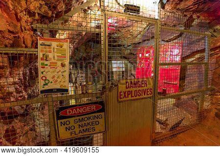 Tennant Creek, Australia - Aug 2019: Underground Mine Explosives Room Of Battery Hill Gold Mine. Old