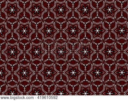 Maroon Ajrak Block Print Abstract Geometric Block Pattern For Textile Design Background Wall Paper T