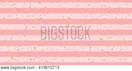 Cute Pink Girly Feminine Festive Romantic Backdrop Background Pink. Striped Background With Gold Pai