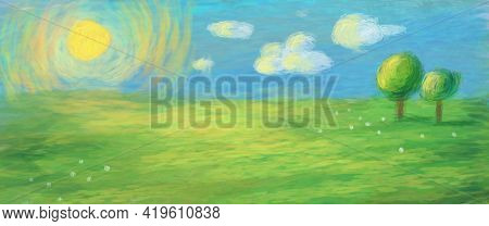 Hand Drawn Simple Primitive Bright Illustration. Picture Of A Green Meadow, Blue Sky, Clouds, Sun An