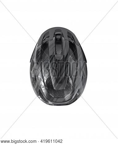 Top View Of Bicycle Helmet With Vents Isolated On White Background