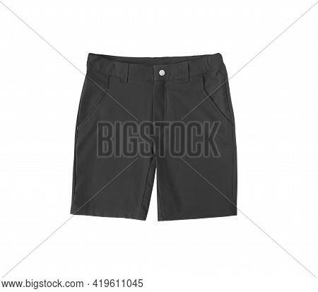 Black Sport Knee Length Shorts Isolated On White Background