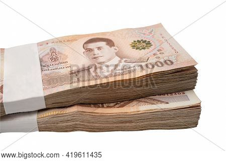 Stack Of Thai Baht Banknotes On White Background With Clipping Path, Business Saving Finance Investm