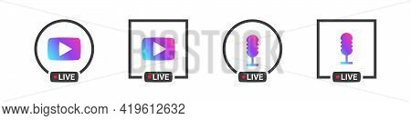 Live Streaming Icons Concept. Video Broadcasting And Live Streaming Icon. Vector Illustration