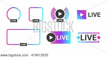Live Streaming Icons. Video Broadcasting And Live Streaming Icon. Profile Frame For Live Streaming.