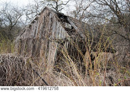 An Old Abandoned House Overgrown With Bushes. The Concept Of Abandonment And Uselessness