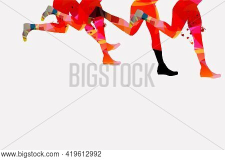 Running People, Marathon Race Poster Vector Illustration. Jogging Active People, Fitness Training, S