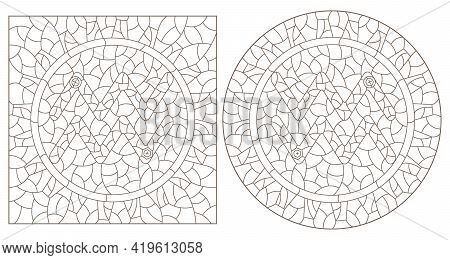 Set Of Contour Illustrations In The Style Of Stained Glass With The Signs Of The Zodiac Aquarius, Da