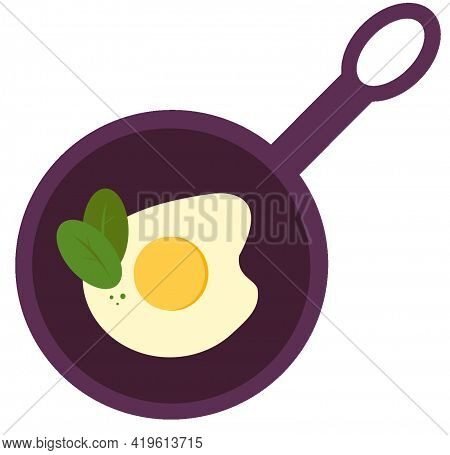 Fried Egg With Herbs In A Frying Pan. Fried Eggs. Isolated.