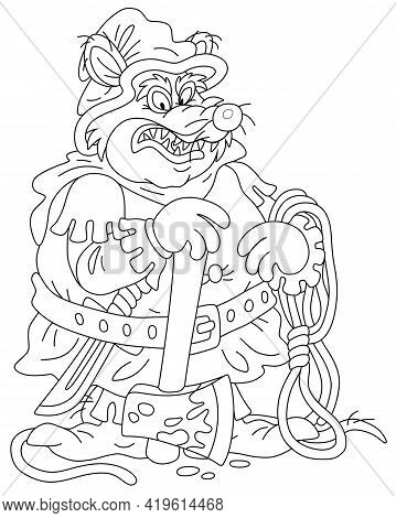 Malicious And Pitiless Fat Rat Executioner With An Ax And A Rope Preparing For Penalty, Black And Wh