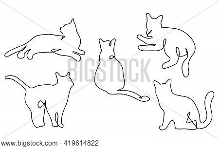 Continuous One Line Cats.feline In Different Poses.animals Sit, Lay,relax.abstract Doodle Shapes. Bl