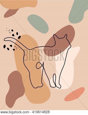 Mid Century Art Poster. Continuous One Line Cat.feline Waves Its Tail In Greeting. Abstract Freehand
