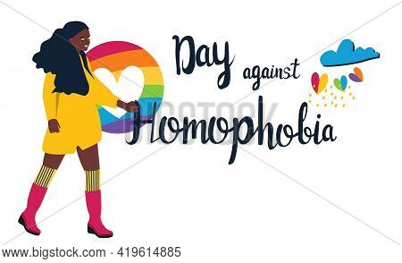 Day Against Homophobia Lettering Poster.pride Month.lgbtq Concept. Cute Trendy Afro American Young W