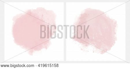 Set Of 2 Abstract Watercolor Style Vector Splashes. Pastel Pink Paint Stains On A White Background.