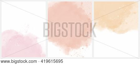 Set Of 3 Delicate Abstract Watercolor Style Vector Layouts. Light Yellow And Pastel Pink Paint Stain