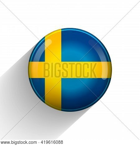 Glass Light Ball With Flag Of Sweden. Round Sphere, Template Icon. Swedish National Symbol. Glossy R