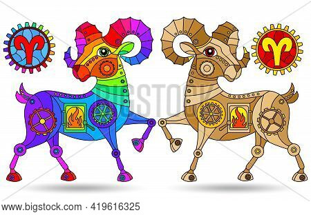 Illustration In The Style Of A Stained Glass Window With A Set Of Zodiac Signs Aries, Figures Isolat