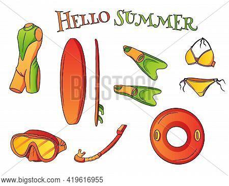 Summer Seaside Leisure Items Water Sport Cartoon Style