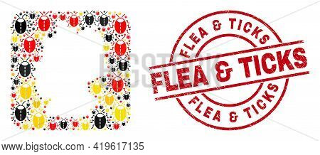 German Geographic Map Mosaic In German Flag Official Colors - Red, Yellow, Black, And Rubber Flea An