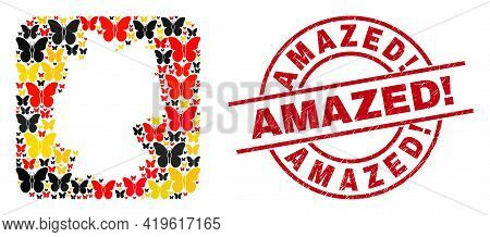 Germany Map Mosaic In Germany Flag Official Colors - Red, Yellow, Black, And Amazed Exciting. Red Ro