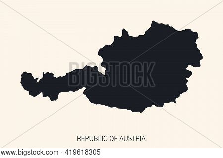 Highly Detailed Austria Map With Borders Isolated On Background. ..simple Flat Icon Illustration For