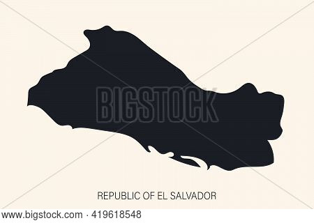 Highly Detailed El Salvador Map  With Borders Isolated On Background. Simple Flat Icon Illustration