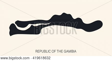 Highly Detailed Gambia Map With Borders Isolated On Background. Simple Flat Icon Illustration For We