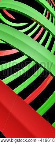 Green And Red Spiral On Black Background - 3d Rendering Illustration