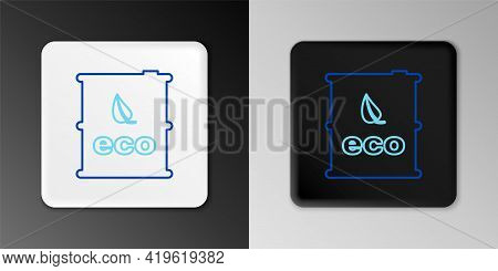 Line Bio Fuel Barrel Icon Isolated On Grey Background. Eco Bio And Canister. Green Environment And R