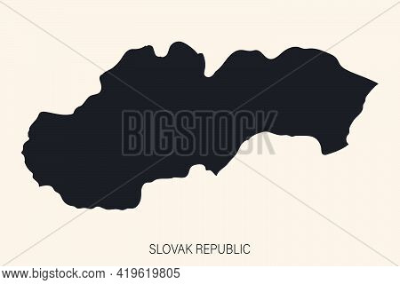 Highly Detailed Slovakia Map With Borders Isolated On Background. Flat Style
