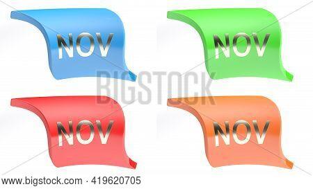 Nov For November Colorful Icon Set - 3d Rendering Illustration