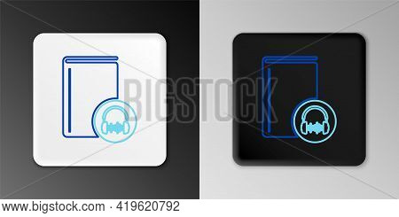 Line Audio Book Icon Isolated On Grey Background. Book With Headphones. Audio Guide Sign. Online Lea