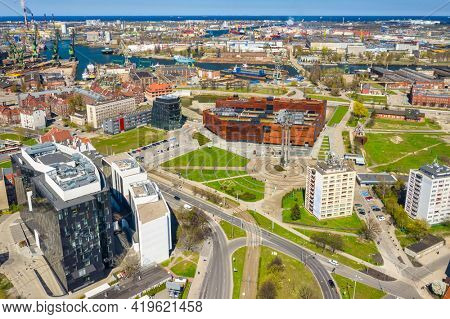 Aerial view of city center in Gdansk with shipyard area. Poland