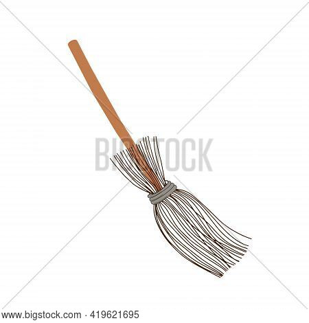 Old Witch Magic Broom Hand Drawn Isolated Vector Illustration, Halloween Party Design Element, A Wit