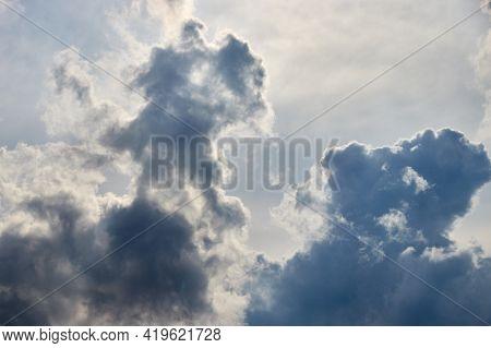 Rain Cumulus Clouds In The Background Light