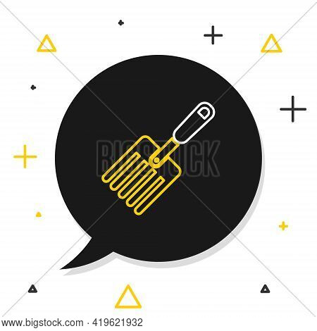 Line Garden Fork Icon Isolated On White Background. Pitchfork Icon. Tool For Horticulture, Agricultu