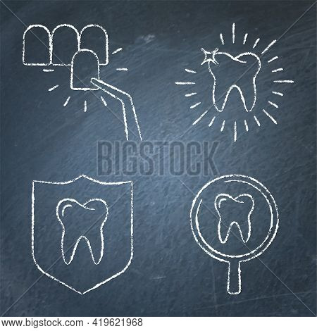Teeth Whitening And Protection Icon Set On Chalkboard
